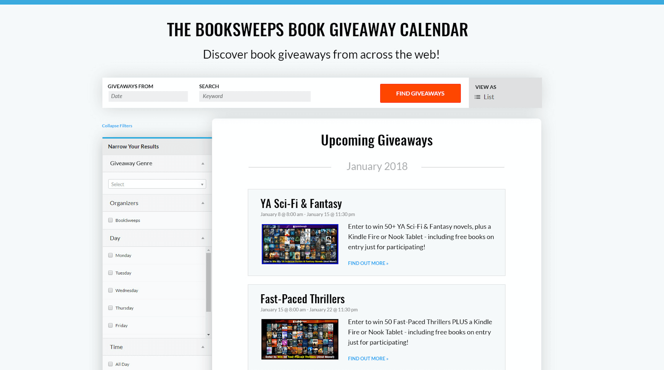 The BookSweeps Book Giveaway Calendar